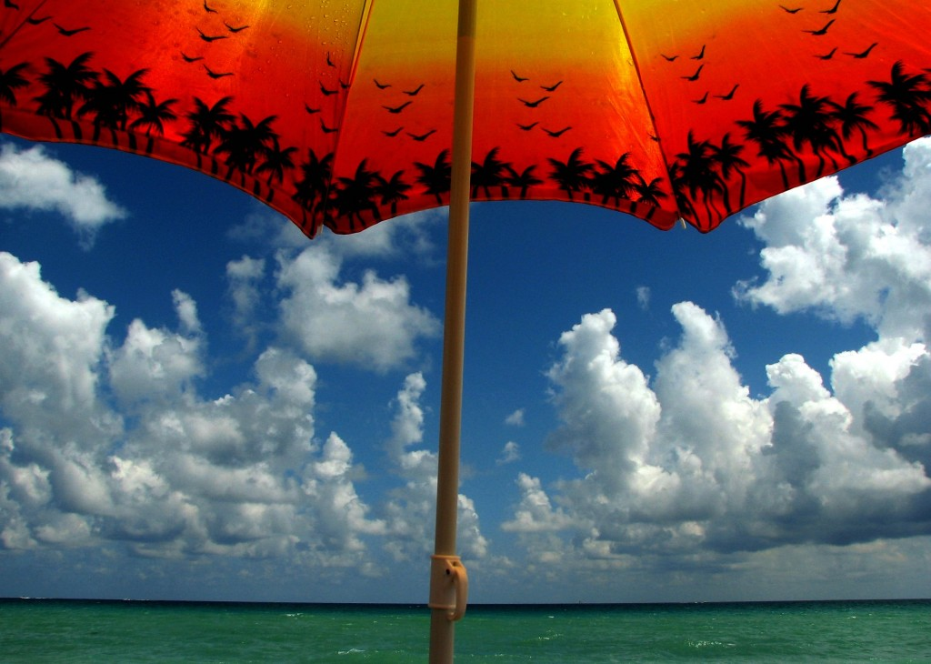 beach umbrella sunlight
