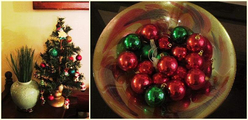 mini christmas tree and christmas balls