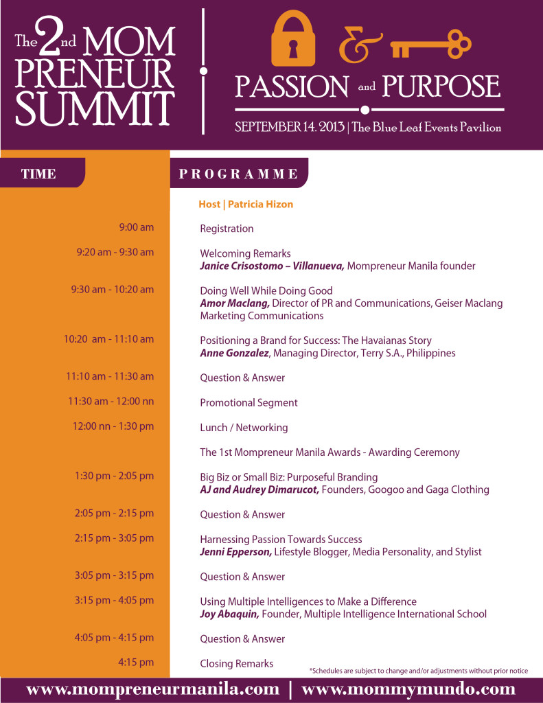 Mompreneur Summit program aug 26