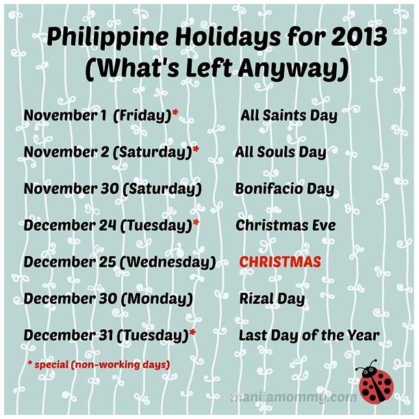 Philippine Holidays 2013 V01