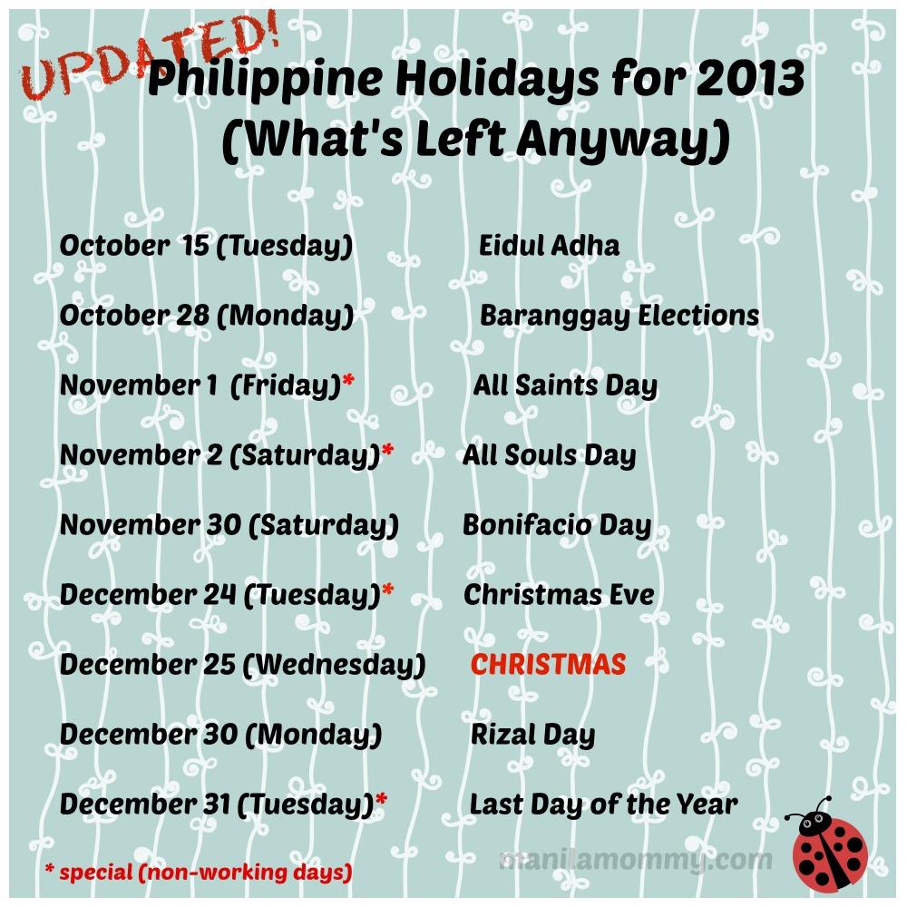 Philippine Holidays 2013 V02