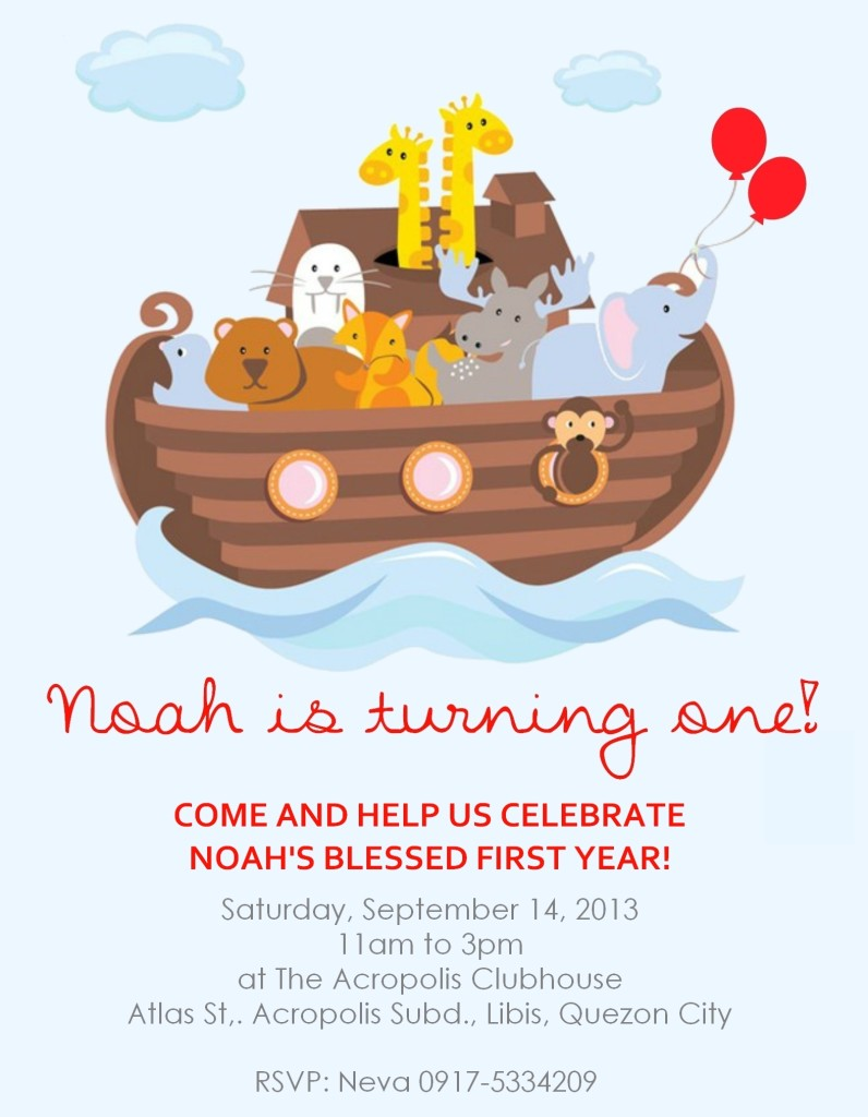 Noah's Ark Party Invitation