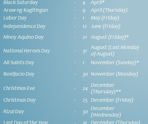 Philippine Holidays for 2015