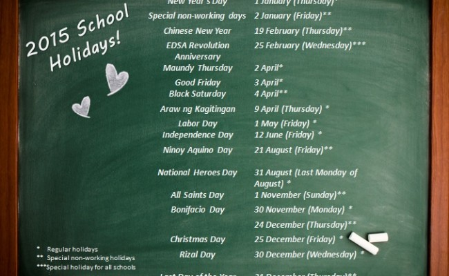 DepEd Announces School Holidays for 2015