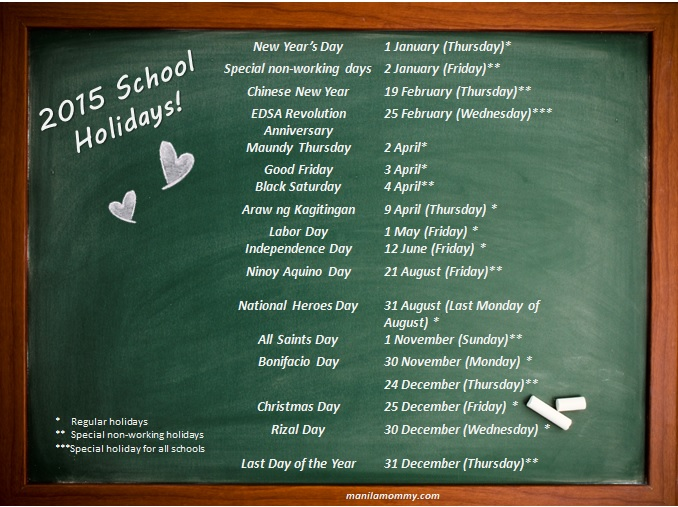 2015 Philippine School Holidays