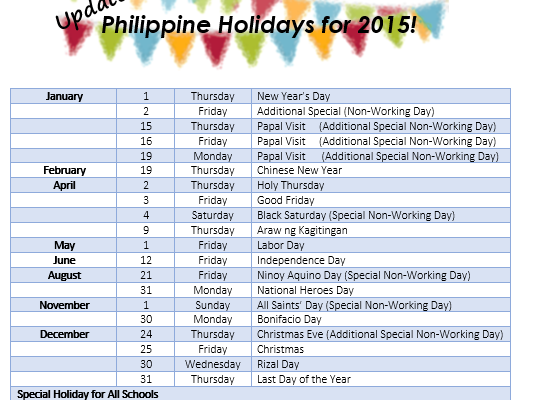 Updated: Philippine Holidays for 2015
