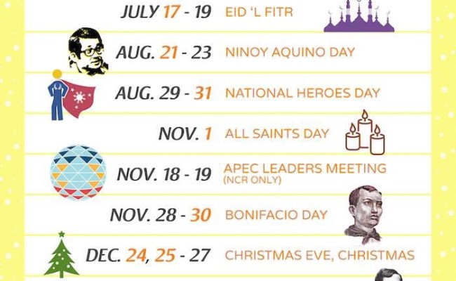 Philippine Holidays and Long Weekends: July – December 2015