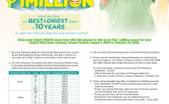 Win Your Baby's First Php 1 Million with Pampers