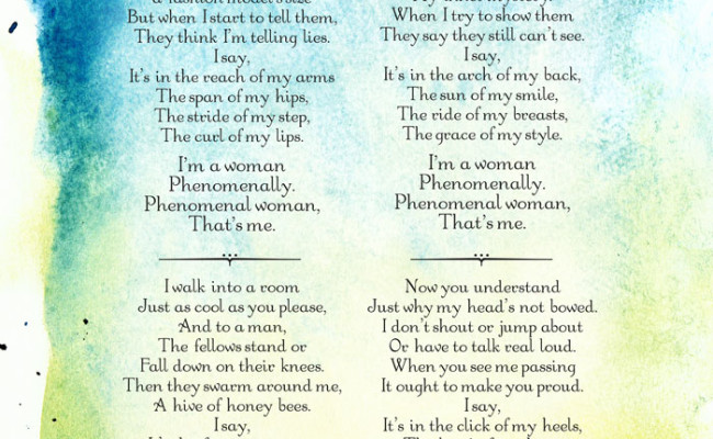 a personal opinion on phenomenal woman a poem by maya angelou