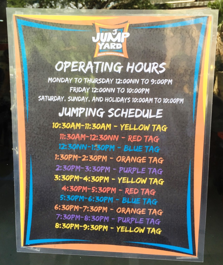 jump yard indoor trampoline park operating hours