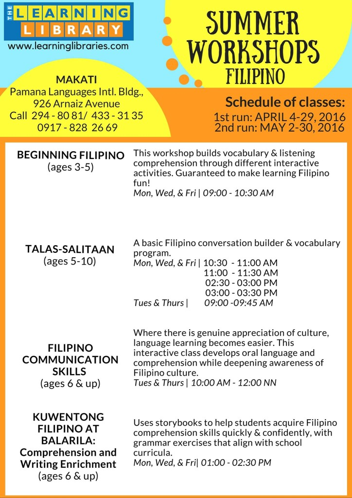 Learning Library English and Filipino Summer Classes